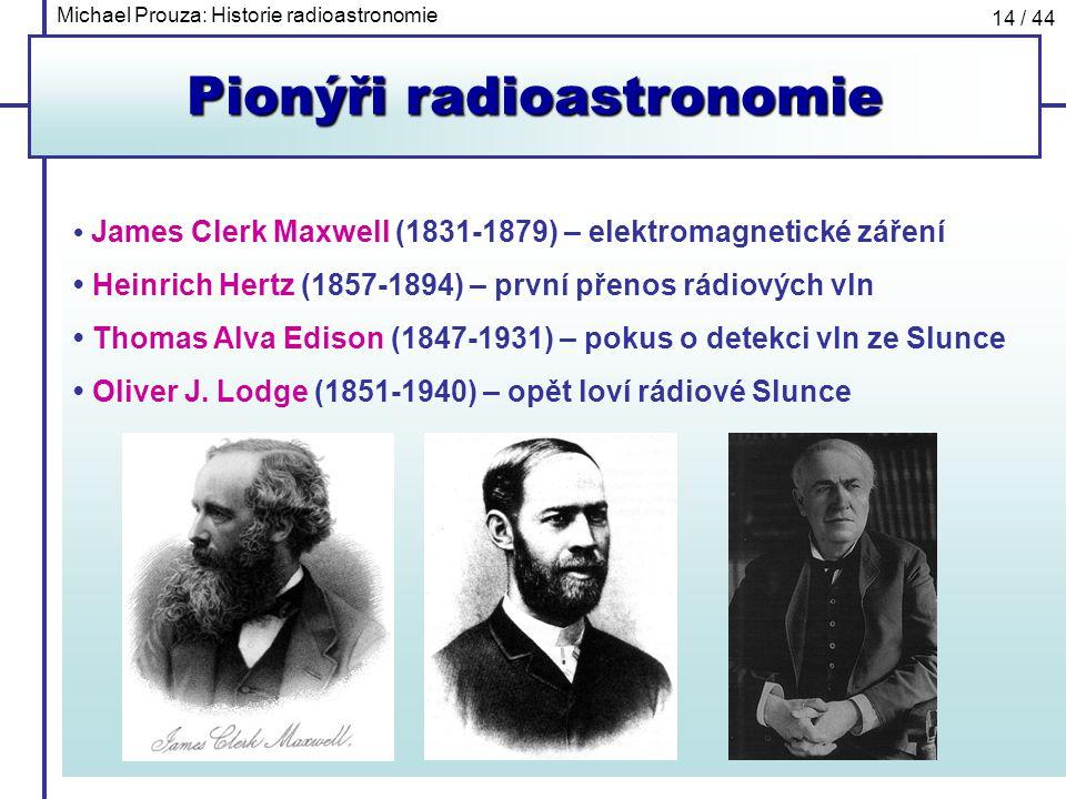 Michael Prouza: Historie radioastronomie 14 / 44 Pionýři radioastronomie James Clerk Maxwell (1831-1879) – elektromagnetické záření Heinrich Hertz (18