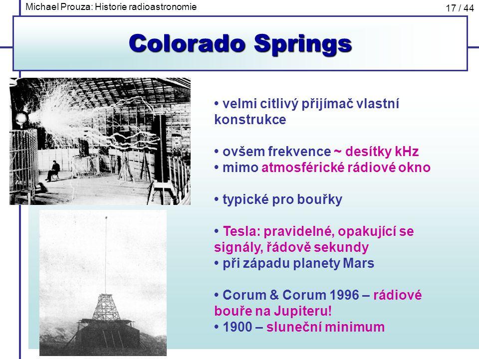 Michael Prouza: Historie radioastronomie 17 / 44 Colorado Springs velmi citlivý přijímač vlastní konstrukce ovšem frekvence ~ desítky kHz mimo atmosfé