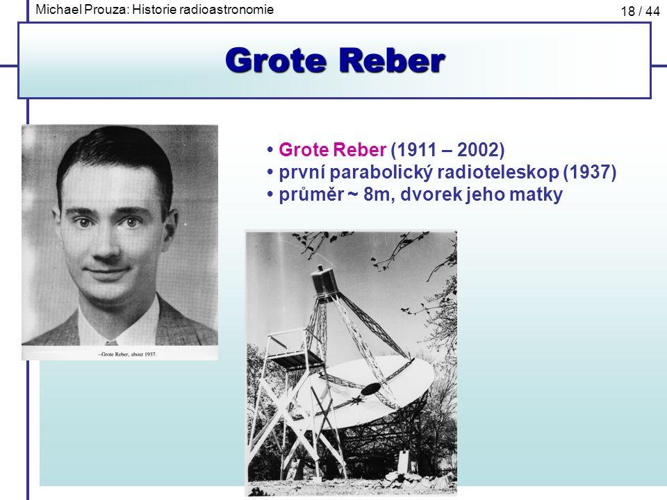 Michael Prouza: Historie radioastronomie 18 / 44 Grote Reber Grote Reber (1911 – 2002) první parabolický radioteleskop (1937) průměr ~ 8m, dvorek jeho