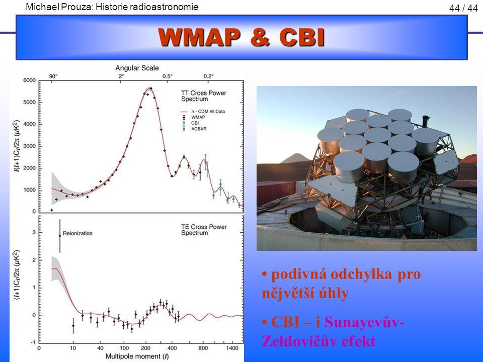 Michael Prouza: Historie radioastronomie 44 / 44 WMAP & CBI podivná odchylka pro nějvětší úhly CBI – i Sunayevův- Zeldovičův efekt