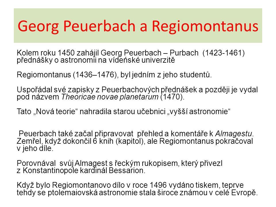 Georg Peuerbach a Regiomontanus Kolem roku 1450 zahájil Georg Peuerbach – Purbach (1423-1461) přednášky o astronomii na vídeńské univerzitě Regiomonta