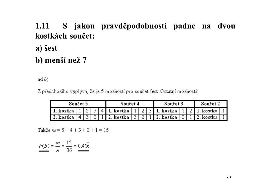 35 1.11 S jakou pravděpodobností padne na dvou kostkách součet: a) šest b) menší než 7