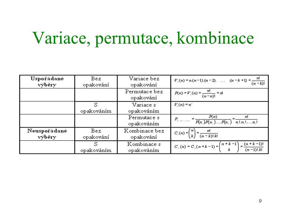 9 Variace, permutace, kombinace