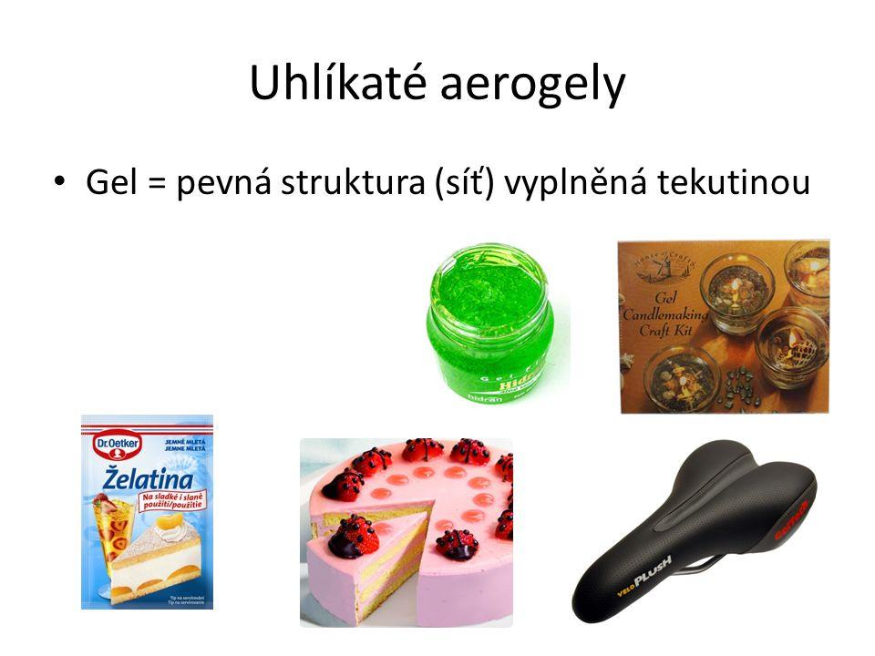 Uhlíkaté aerogely Aerogel = pevná struktura (síť) vyplněná vzduchem (až 99,9%)