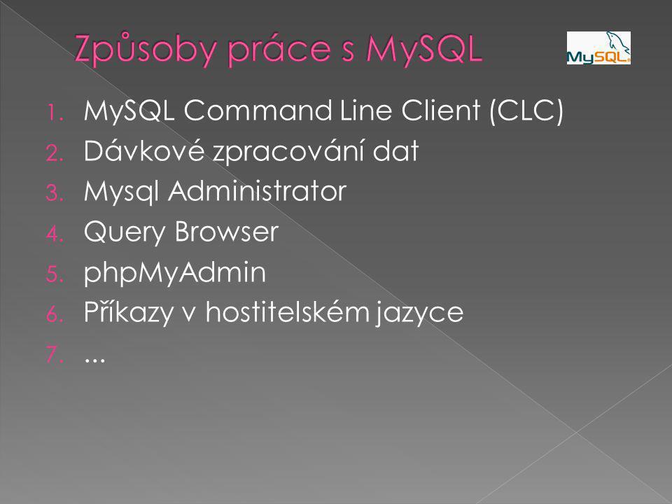 1.MySQL Command Line Client (CLC) 2. Dávkové zpracování dat 3.