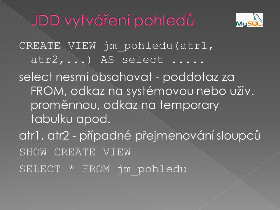 CREATE VIEW jm_pohledu(atr1, atr2,...) AS select.....