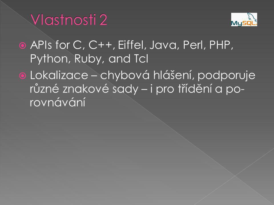  APIs for C, C++, Eiffel, Java, Perl, PHP, Python, Ruby, and Tcl  Lokalizace – chybová hlášení, podporuje různé znakové sady – i pro třídění a po- rovnávání
