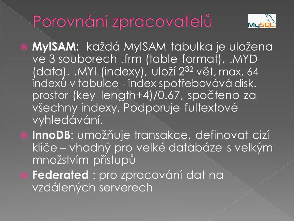  MyISAM : každá MyISAM tabulka je uložena ve 3 souborech.frm (table format),.MYD (data),.MYI (indexy), uloží 2 32 vět, max.