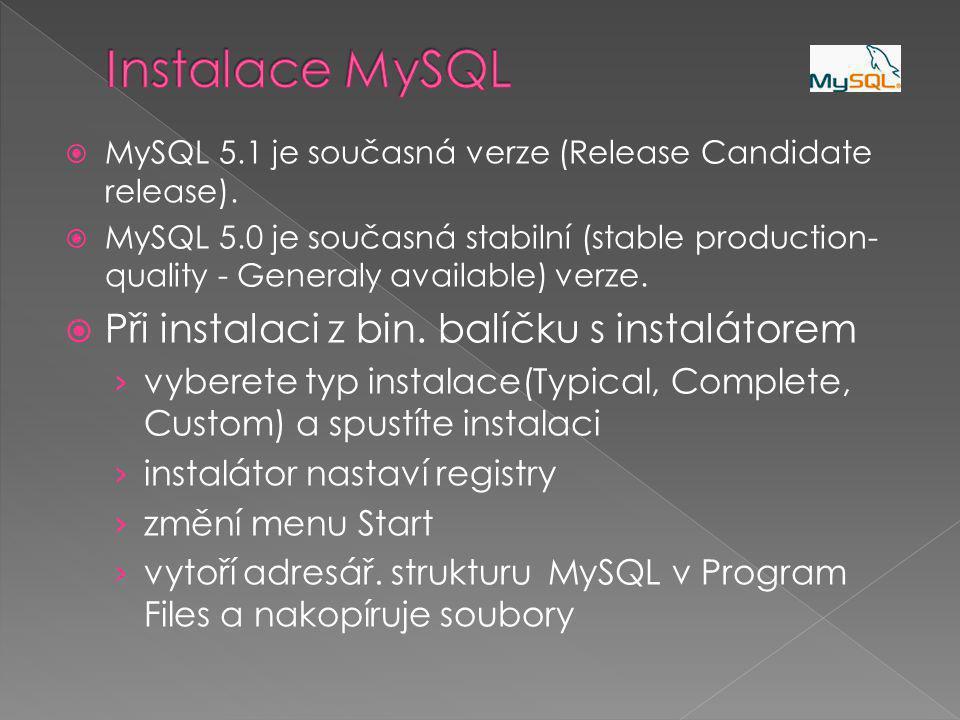  MySQL 5.1 je současná verze (Release Candidate release).