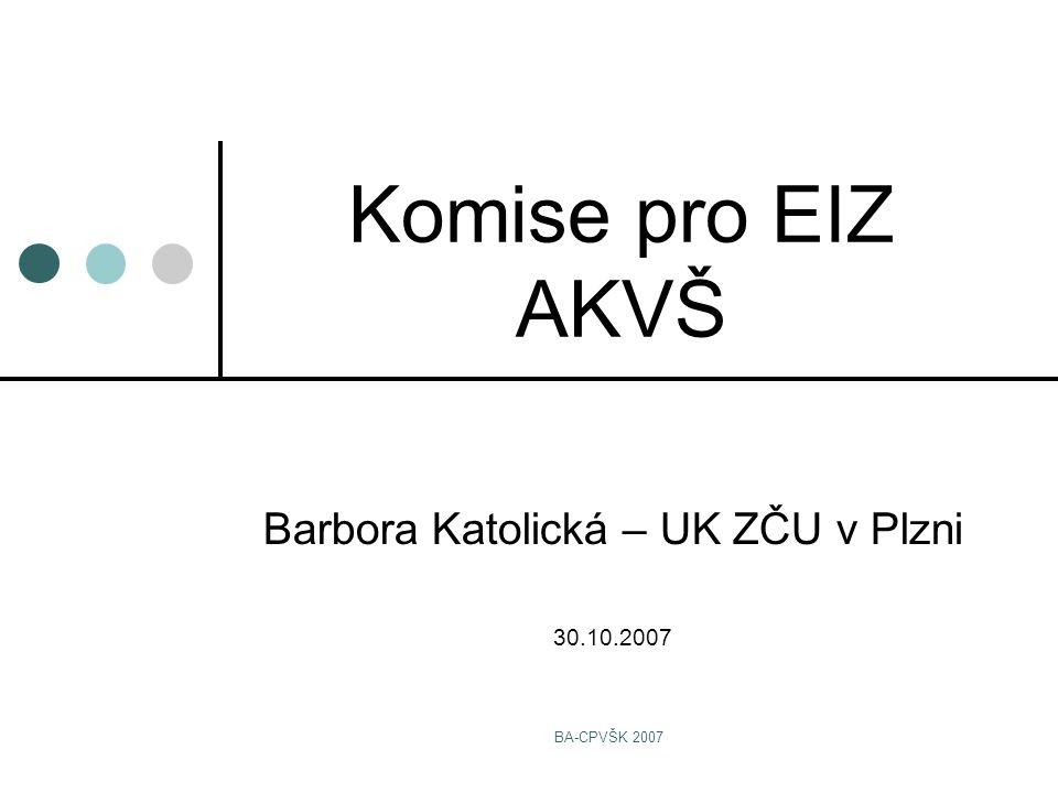 BA-CPVŠK 2007 Komise pro EIZ AKVŠ Barbora Katolická – UK ZČU v Plzni 30.10.2007