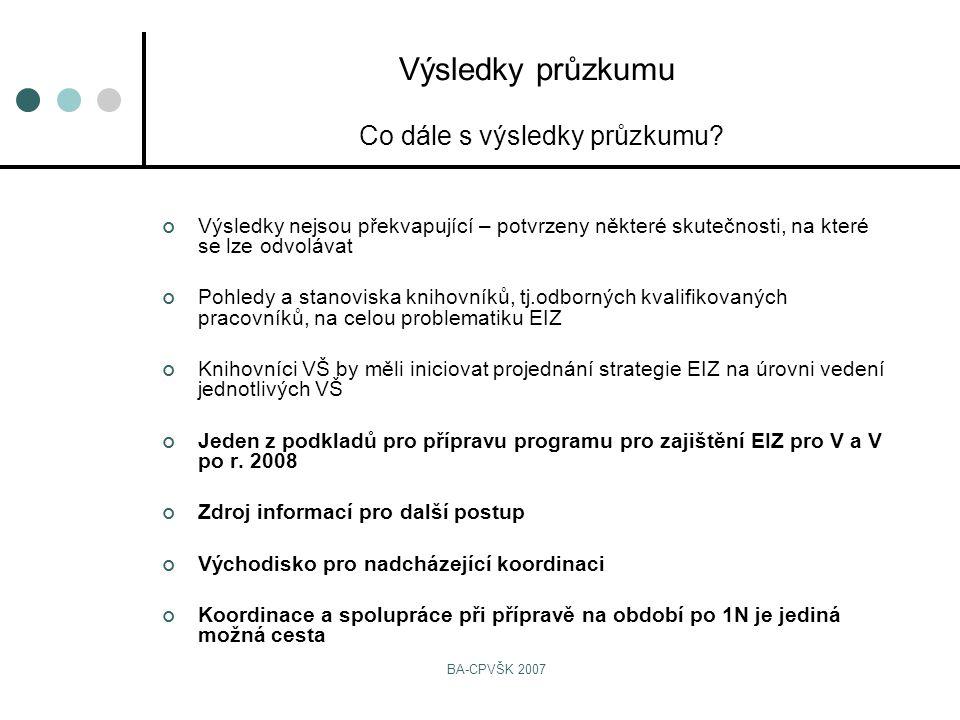 BA-CPVŠK 2007 Výsledky nejsou překvapující – potvrzeny některé skutečnosti, na které se lze odvolávat Pohledy a stanoviska knihovníků, tj.odborných kvalifikovaných pracovníků, na celou problematiku EIZ Knihovníci VŠ by měli iniciovat projednání strategie EIZ na úrovni vedení jednotlivých VŠ Jeden z podkladů pro přípravu programu pro zajištění EIZ pro V a V po r.