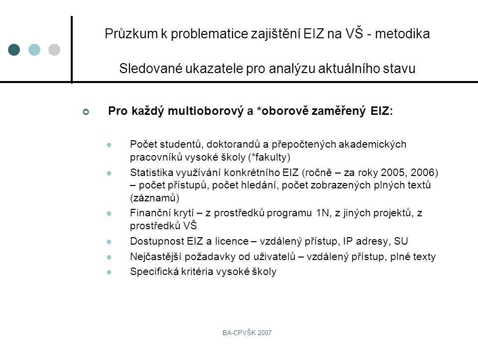 BA-CPVŠK 2007 Pro každý multioborový a *oborově zaměřený EIZ: Počet studentů, doktorandů a přepočtených akademických pracovníků vysoké školy (*fakulty) Statistika využívání konkrétního EIZ (ročně – za roky 2005, 2006) – počet přístupů, počet hledání, počet zobrazených plných textů (záznamů) Finanční krytí – z prostředků programu 1N, z jiných projektů, z prostředků VŠ Dostupnost EIZ a licence – vzdálený přístup, IP adresy, SU Nejčastější požadavky od uživatelů – vzdálený přístup, plné texty Specifická kritéria vysoké školy Průzkum k problematice zajištění EIZ na VŠ - metodika Sledované ukazatele pro analýzu aktuálního stavu