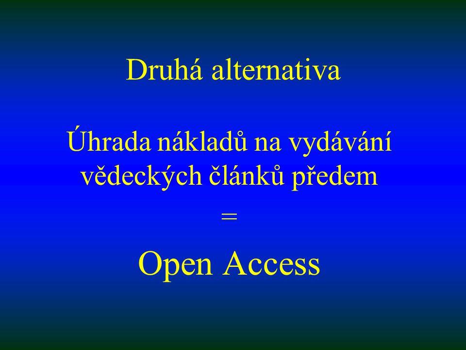 Druhá alternativa Úhrada nákladů na vydávání vědeckých článků předem = Open Access
