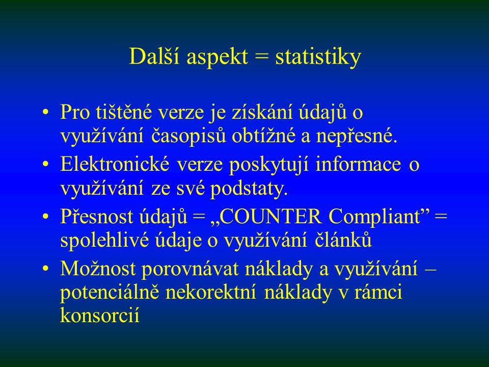 Další aspekt = statistiky Pro tištěné verze je získání údajů o využívání časopisů obtížné a nepřesné.