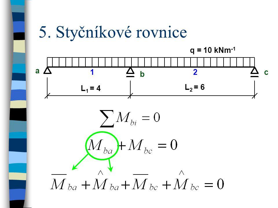 5. Styčníkové rovnice q = 10 kNm -1 a b c L 1 = 4 L 2 = 6 12