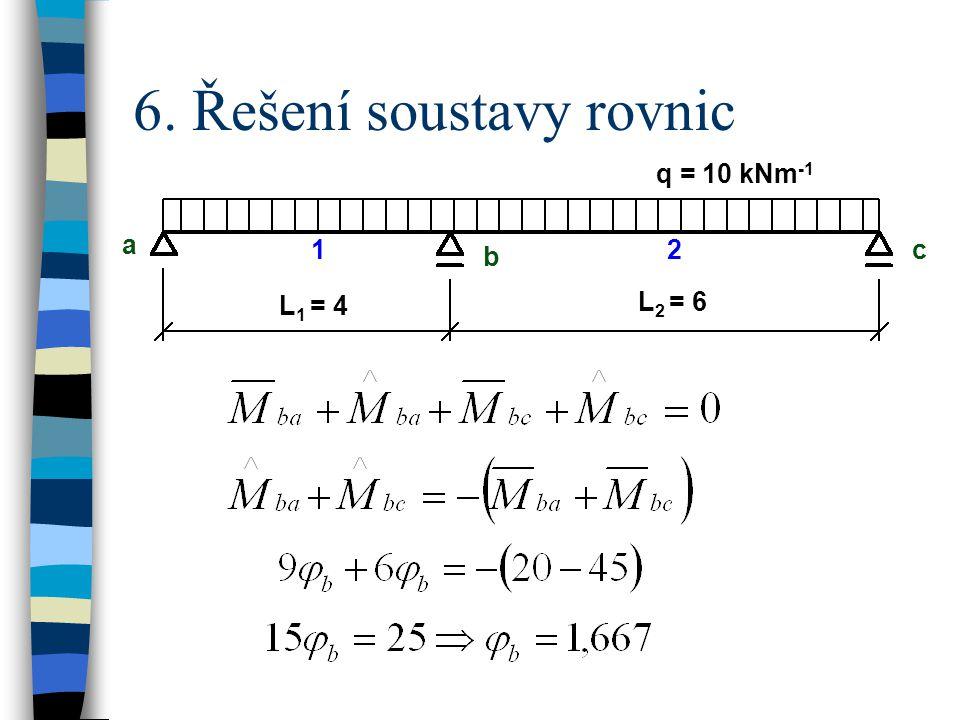 6. Řešení soustavy rovnic q = 10 kNm -1 a b c L 1 = 4 L 2 = 6 12