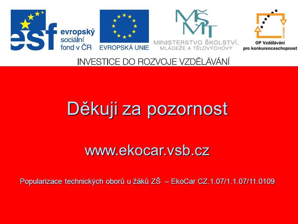 Děkuji za pozornost www.ekocar.vsb.cz Popularizace technických oborů u žáků ZŠ – EkoCar CZ.1.07/1.1.07/11.0109