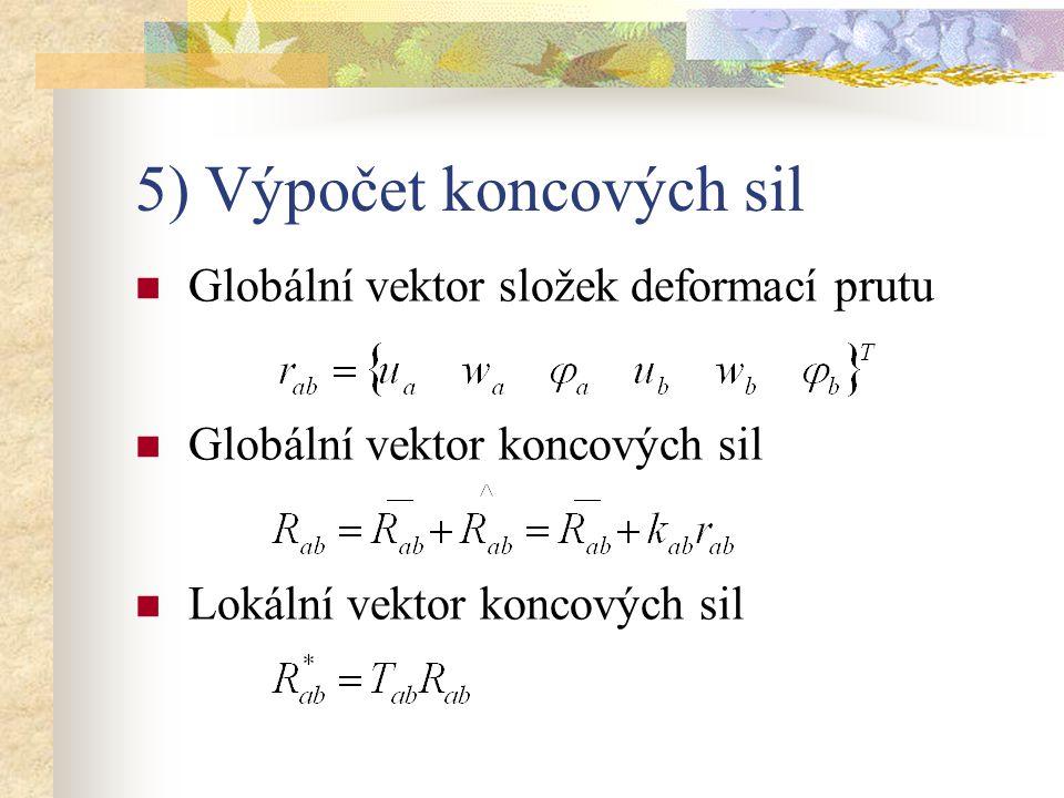 5) Výpočet koncových sil Globální vektor složek deformací prutu Globální vektor koncových sil Lokální vektor koncových sil
