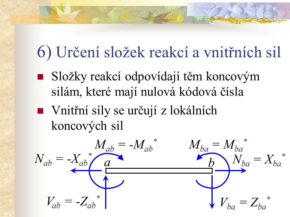 6) Určení složek reakcí a vnitřních sil Složky reakcí odpovídají těm koncovým silám, které mají nulová kódová čísla Vnitřní síly se určují z lokálních