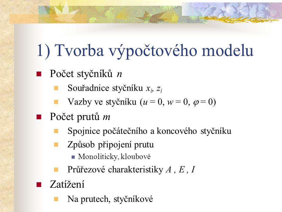 1) Tvorba výpočtového modelu Počet styčníků n Souřadnice styčníku x i, z i Vazby ve styčníku (u = 0, w = 0,  = 0) Počet prutů m Spojnice počátečního