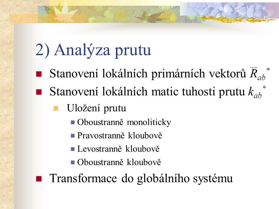 2) Analýza prutu Stanovení lokálních primárních vektorů R ab * Stanovení lokálních matic tuhosti prutu k ab * Uložení prutu Oboustranně monoliticky Pr
