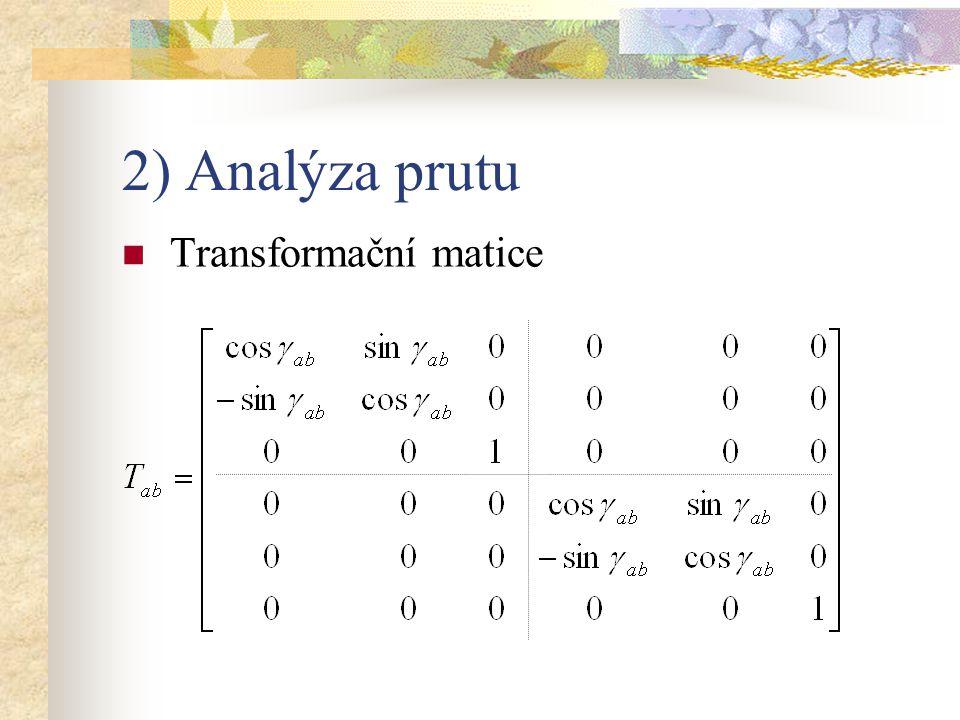 2) Analýza prutu Transformace Globální primární vektor R ab Globální matice tuhosti prutu k ab