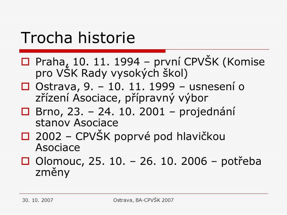 30.10. 2007Ostrava, BA-CPVŠK 2007 Trocha historie  Praha, 10.