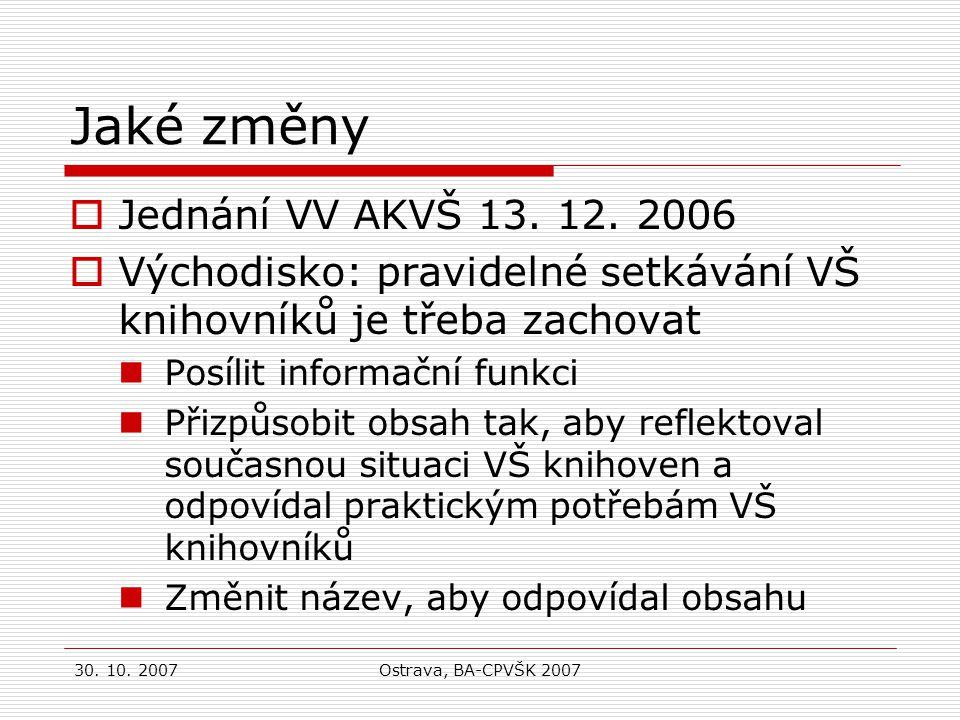 30. 10. 2007Ostrava, BA-CPVŠK 2007 Jaké změny  Jednání VV AKVŠ 13.