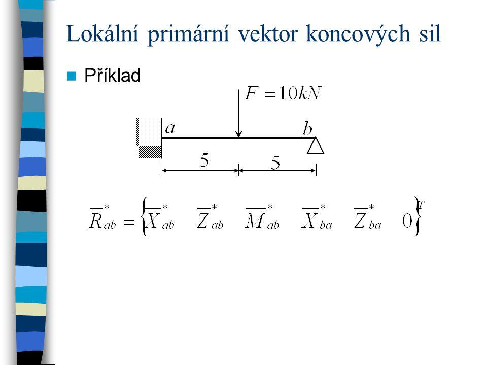 Lokální primární vektor koncových sil Příklad
