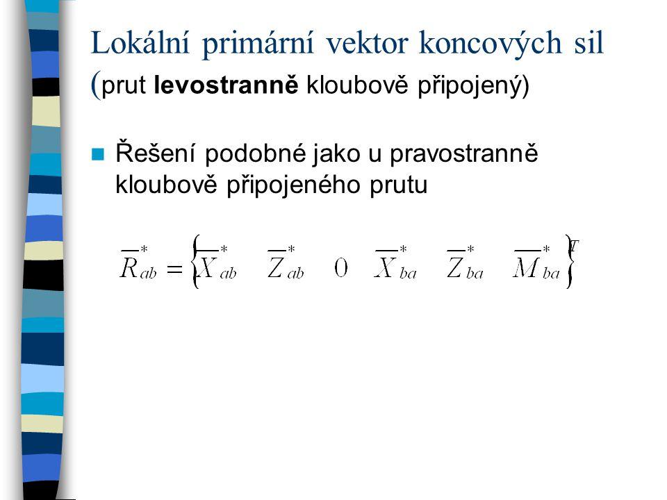Lokální primární vektor koncových sil ( prut levostranně kloubově připojený) Řešení podobné jako u pravostranně kloubově připojeného prutu