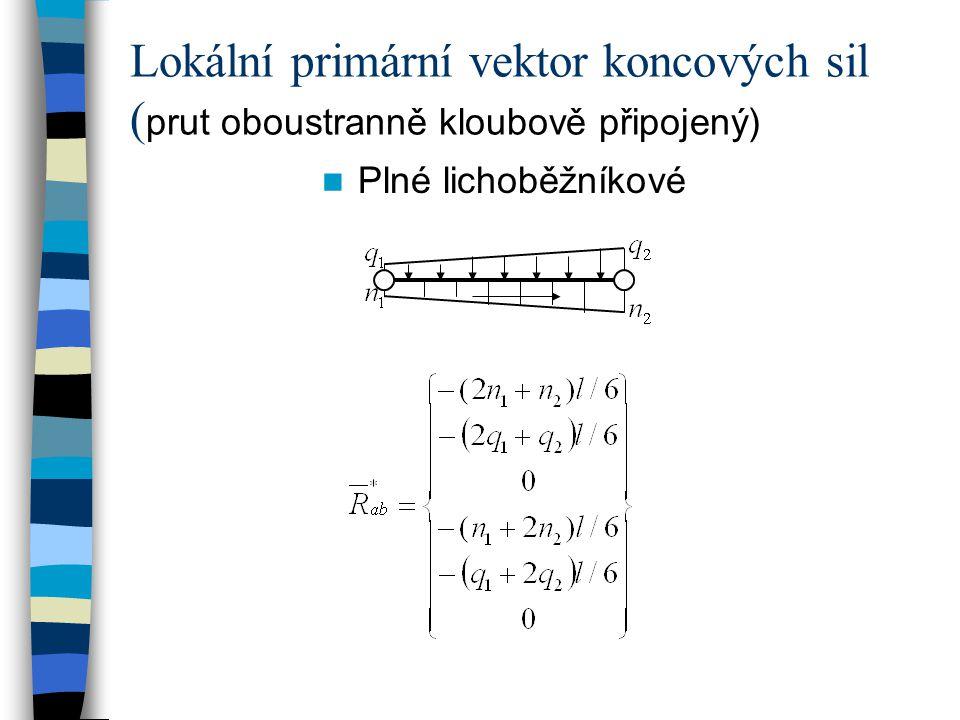 Plné lichoběžníkové Lokální primární vektor koncových sil ( prut oboustranně kloubově připojený)
