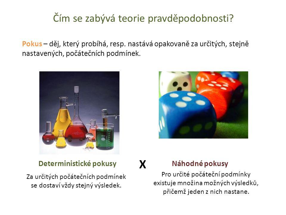 Čím se zabývá teorie pravděpodobnosti? Deterministické pokusy Náhodné pokusy X Pokus – děj, který probíhá, resp. nastává opakovaně za určitých, stejně