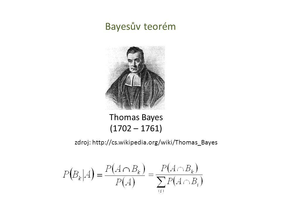 Bayesův teorém Thomas Bayes (1702 – 1761) zdroj: http://cs.wikipedia.org/wiki/Thomas_Bayes
