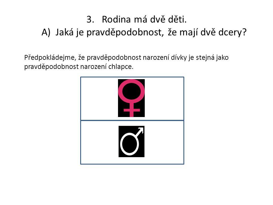 3.Rodina má dvě děti. A) Jaká je pravděpodobnost, že mají dvě dcery? Předpokládejme, že pravděpodobnost narození dívky je stejná jako pravděpodobnost