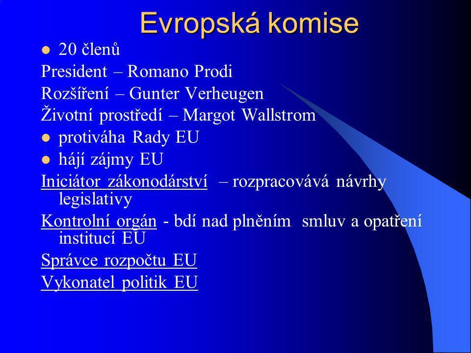20 členů President – Romano Prodi Rozšíření – Gunter Verheugen Životní prostředí – Margot Wallstrom protiváha Rady EU hájí zájmy EU Iniciátor zákonodá