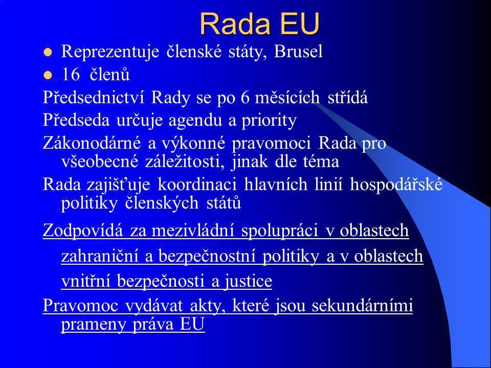 Reprezentuje členské státy, Brusel 16 členů Předsednictví Rady se po 6 měsících střídá Předseda určuje agendu a priority Zákonodárné a výkonné pravomo