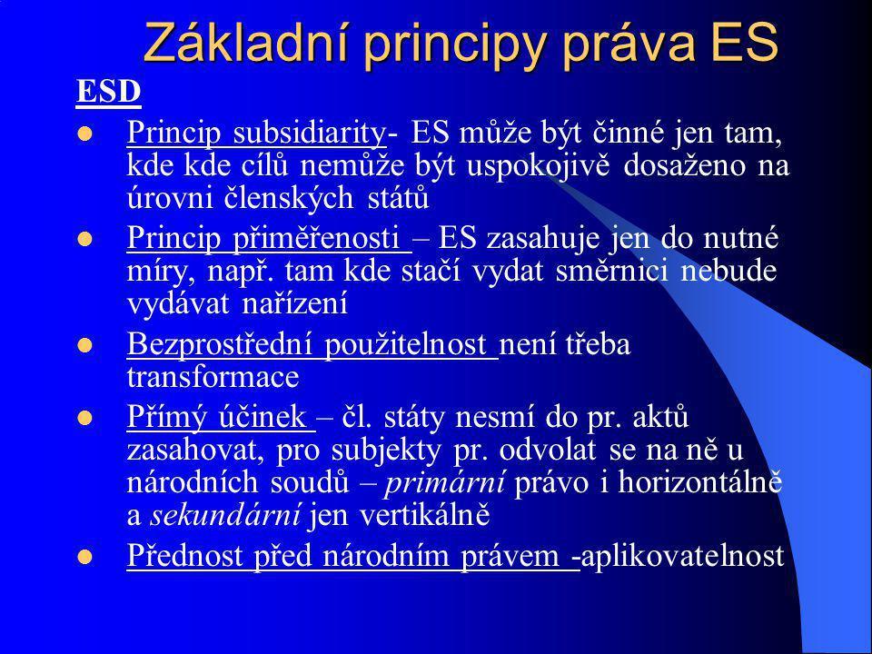ESD Princip subsidiarity- ES může být činné jen tam, kde kde cílů nemůže být uspokojivě dosaženo na úrovni členských států Princip přiměřenosti – ES z