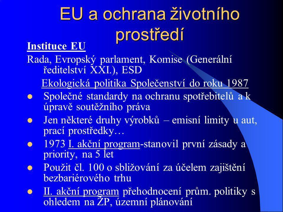 Instituce EU Rada, Evropský parlament, Komise (Generální ředitelství XXI.), ESD Ekologická politika Společenství do roku 1987 Společné standardy na oc