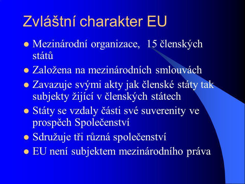Zvláštní charakter EU Mezinárodní organizace, 15 členských států Založena na mezinárodních smlouvách Zavazuje svými akty jak členské státy tak subjekt