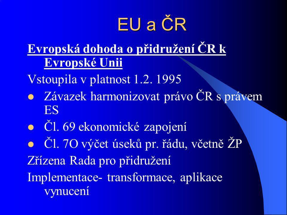 Evropská dohoda o přidružení ČR k Evropské Unii Vstoupila v platnost 1.2. 1995 Závazek harmonizovat právo ČR s právem ES Čl. 69 ekonomické zapojení Čl