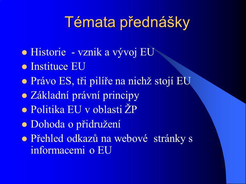 Historie - vznik a vývoj EU Instituce EU Právo ES, tři pilíře na nichž stojí EU Základní právní principy Politika EU v oblasti ŽP Dohoda o přidružení