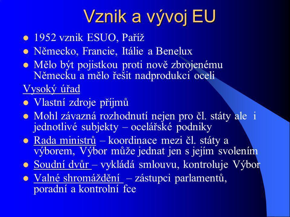 1957 vznik EHS, Euratom, Římské smlouvy EHS – řeší ekonomické problémy Vytvoření společného trhu Celní unie, zákaz omezení dovozu či vývozu mezi členskými státy, stejné clo navenek Volný pohyb zboží, služeb, pracovních sil a kapitálu Mělo přinést soběstačnost a efektivní využívání zdrojů Euratom –vytváří společný trh s jadernou energií Podpora výzkumu, podpora investic Bezpečnostní standart Snaha o zvýšení životní úrovně Vznik a vývoj EU