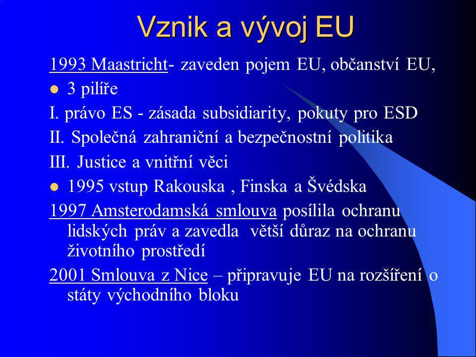 1993 Maastricht- zaveden pojem EU, občanství EU, 3 pilíře I. právo ES - zásada subsidiarity, pokuty pro ESD II. Společná zahraniční a bezpečnostní pol