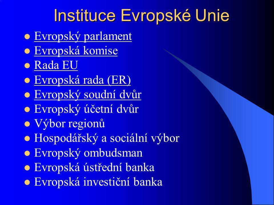 Evropský parlament Evropská komise Rada EU Evropská rada (ER) Evropský soudní dvůr Evropský účetní dvůr Výbor regionů Hospodářský a sociální výbor Evr