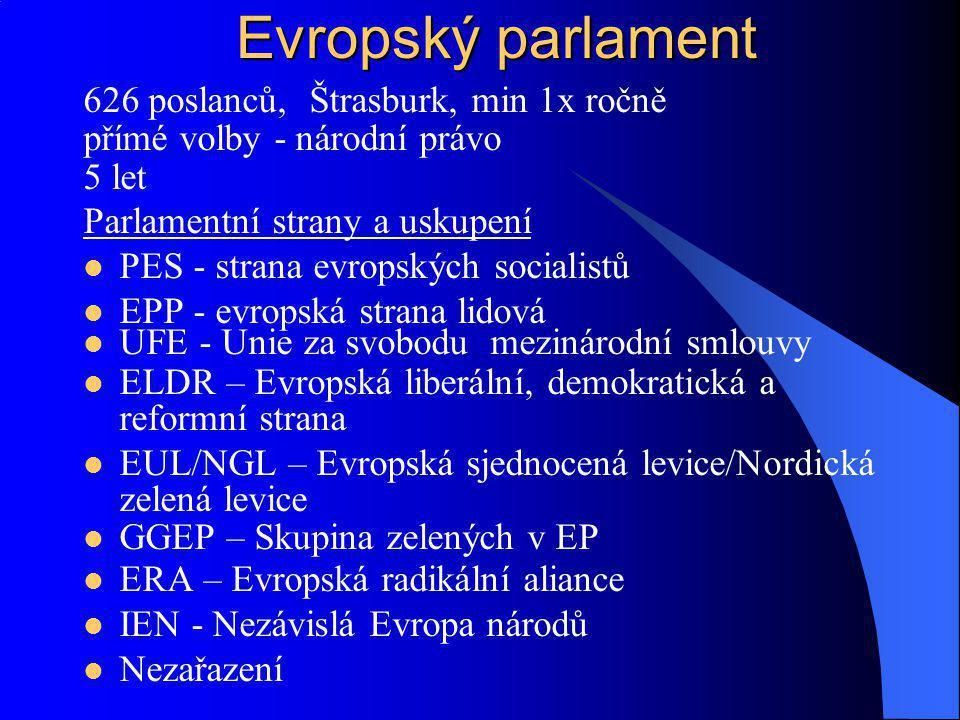 626 poslanců, Štrasburk, min 1x ročně přímé volby - národní právo 5 let Parlamentní strany a uskupení PES - strana evropských socialistů EPP - evropsk
