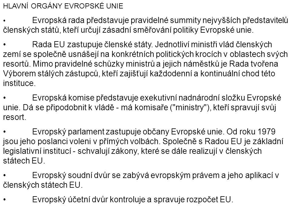 HLAVNÍ ORGÁNY EVROPSKÉ UNIE Evropská rada představuje pravidelné summity nejvyšších představitelů členských států, kteří určují zásadní směřování poli
