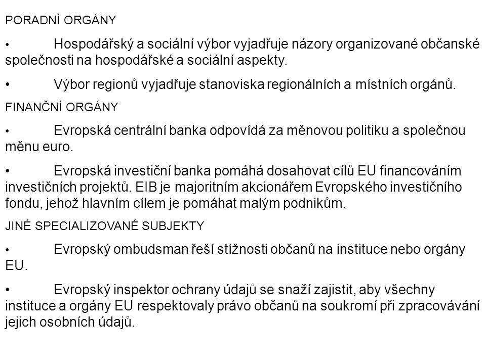 PORADNÍ ORGÁNY Hospodářský a sociální výbor vyjadřuje názory organizované občanské společnosti na hospodářské a sociální aspekty. Výbor regionů vyjadř
