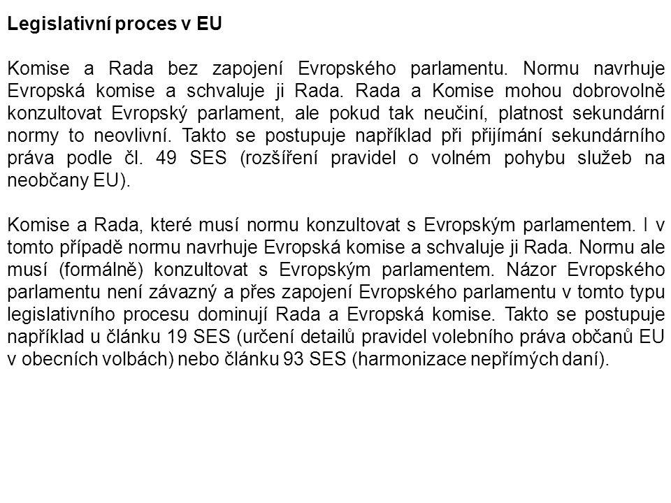 Legislativní proces v EU Komise a Rada bez zapojení Evropského parlamentu. Normu navrhuje Evropská komise a schvaluje ji Rada. Rada a Komise mohou dob