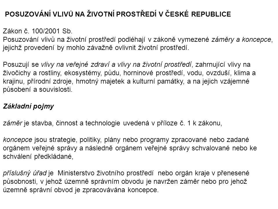 POSUZOVÁNÍ VLIVŮ NA ŽIVOTNÍ PROSTŘEDÍ V ČESKÉ REPUBLICE Zákon č. 100/2001 Sb. Posuzování vlivů na životní prostředí podléhají v zákoně vymezené záměry