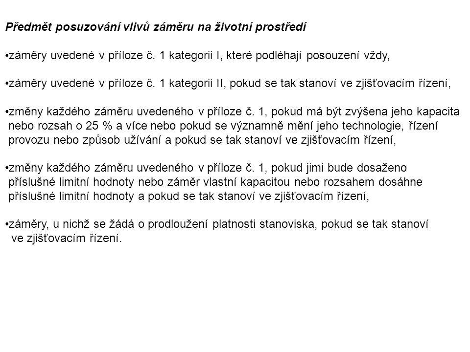 Předmět posuzování vlivů záměru na životní prostředí záměry uvedené v příloze č.